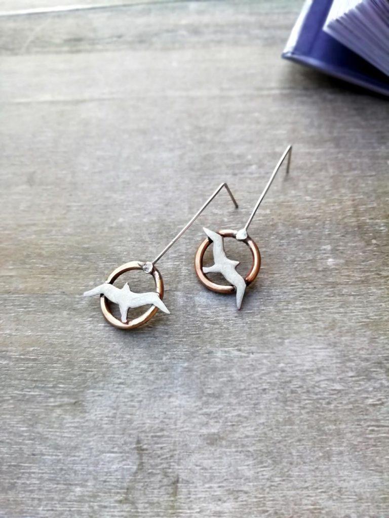 orecchini con gabbiano